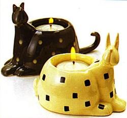Vintage Fine!  Animal Tea Light Holders - Cat & Bunny Set