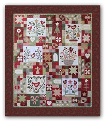 A Merry Christmas Garden<br>Block of the Month<br>or All at Once<br>Wool Applique on Cotton<br>Start Anytime!