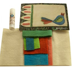 Blue Bird Mug Rug - Wool Applique with Optional Glue Stick