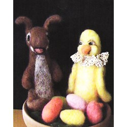 Vintage Find!  Bunnies, Peeps and Jellly Beans Felting Kit by Lowell Country Gifts