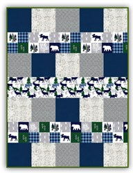 More Back in Stock!  Exclusive Gorgeous Cabin Fever -Blue - Deluxe Minky Quilt-As-You-Go Kit - Shannon Fabrics
