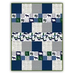 Exclusive Gorgeous Cabin Fever -Blue - Deluxe Minky Quilt-As-You-Go Kit - Shannon Fabrics