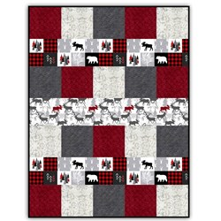 More Back in Stock!  Exclusive Gorgeous Cabin Fever -Red - Deluxe Minky Quilt-As-You-Go Kit - Shannon Fabrics