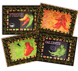 Caliente Black Peppers Deluxe Table Mats (4) Kit Set