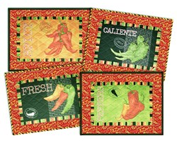 Caliente Red Peppers Deluxe Table Mats (4) Kit Set