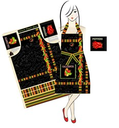 Tie One On!  - Caliente Peppers Deluxe Apron & Pot Holder Kit