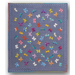 It's Back!  Euphoric Butterflies Lap Size Quilt Kit100% Hand Dyed Wool Applique on Wool or  Silk Matka