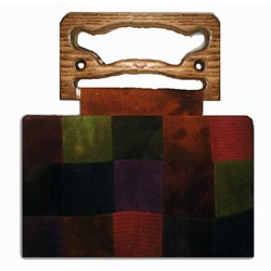 Checkered Wool Purse with Wooden Handles by Jed Bags