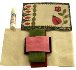 Lady Bug Mug Rug - Wool Applique with Optional Glue Stick