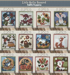 Last One!  Little Quilts Squared - Wool Applique Table Topper Kits Plus Stand <br><i>Free US Shipping!</i>