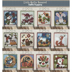 Last One!  Little Quilts Squared - Flannel Applique  Table Topper Kit & Stand!