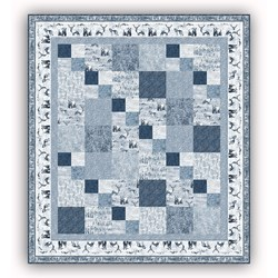 Exclusive!  Misty Mountain Flannel Quilt Kit - Faded Denim Blues - Includes MINKY Backing