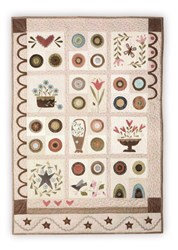 One Spring Day Wallhanging - Block of the Month or All  Once<br>Wool Applique on Cotton Background<br>Start Anytime