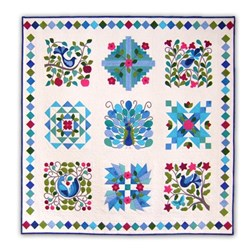 Back in Stock!  Peacock's Garden Cotton Block of the Month or All at Once - BluesStart Anytime!