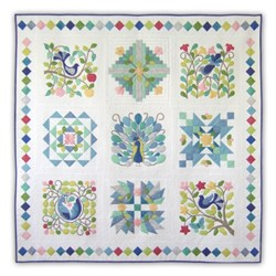 Back in Stock!  Peacock's Garden Cotton Block of the Month or All at Once -  PastelsStart Anytime!