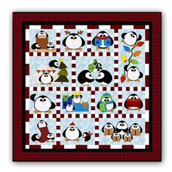 New! Penguin Cheer Flannel Block of the Month or All at Once - Starts January
