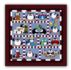 <i>New!</i>Penguin Cheer WOOL Block of the Month or All at Once!  Starts January!