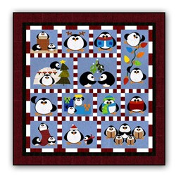 New!Penguin Cheer WOOL Block of the Month or All at Once!  Starts January!