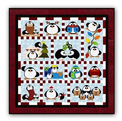 Penguin Cheer Batik Block of the Month or All at Once <br>Available in Batik Applique on Batik<br>Start Anytime!