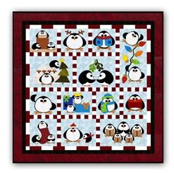 Penguin Cheer Batik Block of the Month or All at Once <br>Available in Batik Applique on Batik<br>Start Anytime!