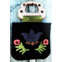 Royal Garden Applique Wool Purse with Wooden Handles by Jed Bags