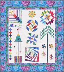 The Homespun Hearth Blue Kaffe Whirlygig Garden Sampler Quilt Kit