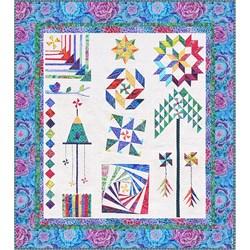 The Homespun Hearth Blue Kaffe Whirlygig Garden Sampler Quilt Kit