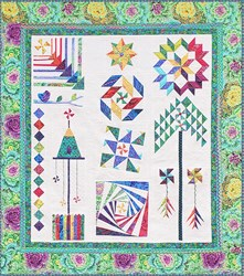 The Homespun Hearth Green Kaffe Whirlygig Garden Sampler Quilt Kit