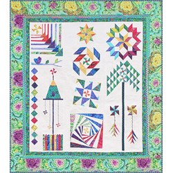 The Homespun Hearth Green Kaffe Whirlygig Garden Sampler Quilt Kit