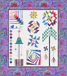 The Homespun Hearth Purple Kaffe Whirlygig Garden Sampler Quilt Kit