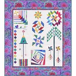 The Homespun Hearth Purple Kaffe Whirlygig Garden Sampler Quilt Kit