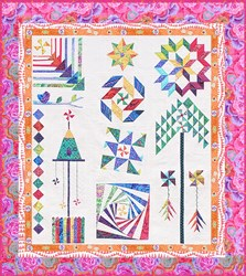 The Homespun Hearth Red Kaffe Whirlygig Garden Sampler Quilt Kit