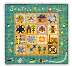 Last One!  Sewing Room Sampler Colorful Quilt Kit With Added Wool Pack - Includes Backing