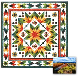 New Batik Fabrics!  Taos<br> Block of the Month<br> OR All at Once Queen/King Size  Quilt <br>Now in Batik Fabrics!<br><i>Start Any Time!</i>