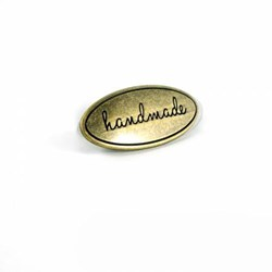 "Metal Bag Oval ""Handmade"" Antique Brass  Label (1 per pack)"