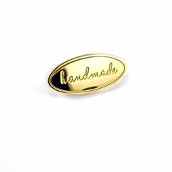 "Metal Bag Oval ""Handmade"" Gold  Label (1 per pack)"