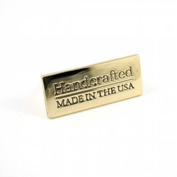 """Metal Bag  """"Handcrafted - Made in the USA"""" Gold Label (1 per pack)"""
