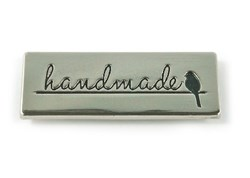 "Metal Bag  ""handmade"" With Bird Silhouette -Nickel  Label (1 per pack)"