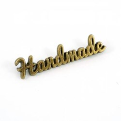 "Metal Bag Script ""Handmade"" Antique Brass Label (1 per pack)"