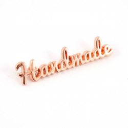"Metal Bag Script ""Handmade"" Copper Label (1 per pack)"