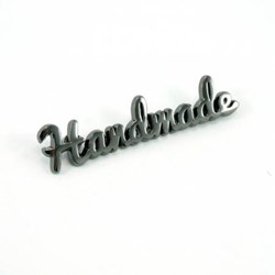 "Metal Bag Script ""Handmade"" Gunmetal Label (1 per pack)"
