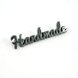"""Metal Bag Script """"Handmade"""" Gunmetal Label (1 per pack)"""