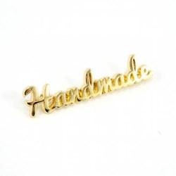 """Metal Bag Script """"Handmade"""" Gold Label (1 per pack)"""