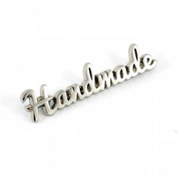 "Metal Bag Script ""Handmade"" Nickel Label (1 per pack)"