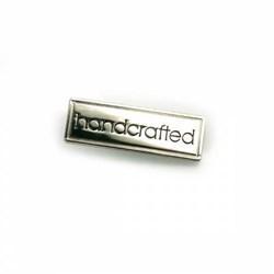 """Metal Bag """"Handmade"""" Nickel Label (1 per pack)"""