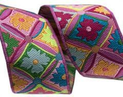 Pink Antwerp Flowers Ribbon by Kaffe Fassett