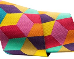 "Tumbling Blocks in yellow, red and aqua by Kaffe Fassett 1/12"" wide"