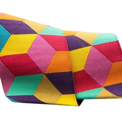 """Tumbling Blocks in yellow, red and aqua by Kaffe Fassett 1/12"""" wide"""