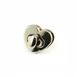 Heart Shaped Bag Lock -Nickel  (1 per pack)