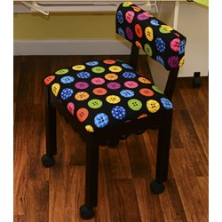 Black Sewing Chair With Riley Blake Button Fabric